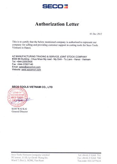 seco azcom distributor certificate